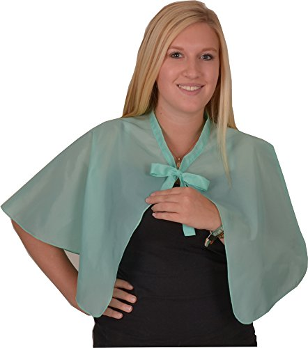 Solida parrucchiere abito in taffetà con cravatta, Turchese, 1 pcs