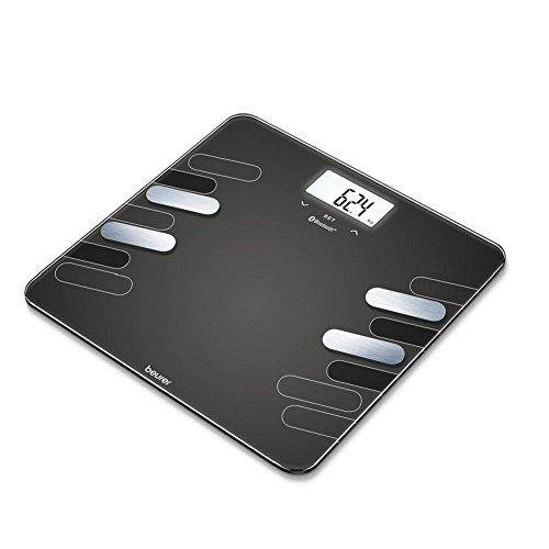 Beurer BF 600 Style Diagnosewaage, digitale Personenwaage zur Messung von Körperfett und Muskelanteil, mit Gewichtsanalyse und App, schwarz