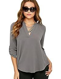 1e0a27b694521 Blusas de Vestir Manga Larga Cuello en V Blusa Gasa Fiesta Camisas Mujer  Camisetas Largas Elegantes