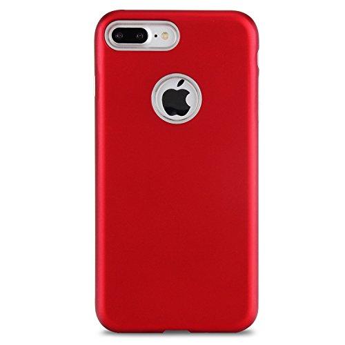 Ultra Thin Lightweight Dual Layer Hybrid Schützende Back Cover Stoßfänger für iPhone 7 Plus ( Color : Silver ) Red