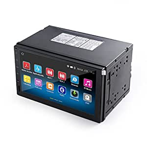 Car Stereo GPS media-player, LESHP Double 2DIN Android 5.1 7 inch Capacitive Touch Screen 1024x600 High Definition GPS Navigation for Vehicles, car, truck, RV, Mini-van, Bluetooth USB SD Player 1G DDR3 + 16G NAND Memory Flash, with Rearview camera 170 ° night vision, WiFi / 3G / Bluetooth / Supports 1080P Video / Steering Wheel Control / FM / USB / SD / AV- OUT