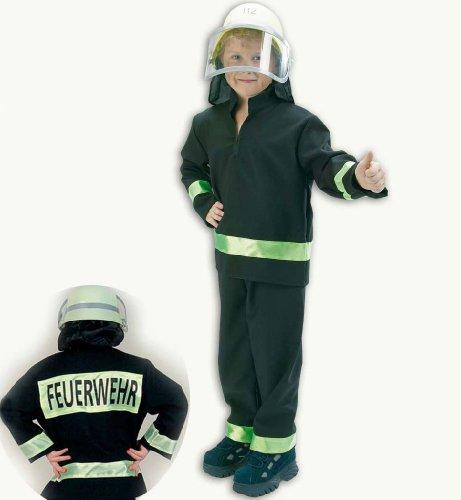 (Kostüm Feuerwehrmann Feuerwehr ROT / SCHWARZ für Karneval Fasching (104, SCHWARZ FRIES))
