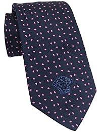Versace Men's Blue Pink Geometric Print Silk Neck Tie