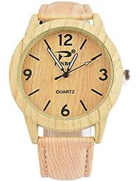 mjartoria Mujer Retro Madera rayas Reloj Reloj de pulsera Quartz Analógico de Cuarzo Reloj