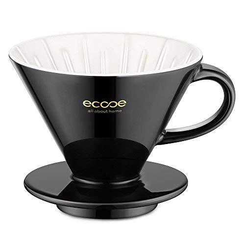 ecooe Keramik Kaffeefilter Größe 02 Porzellan Schwarz Handfilter 1 bis 4 Tassen Porzellanfilter