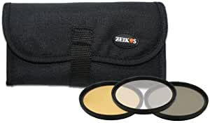 Zeikos 52mm 3-Piece Ultra Slim Pro Glass Filter Set (UV Ultraviolet, Circular Polarizing & Warming) with Pouch