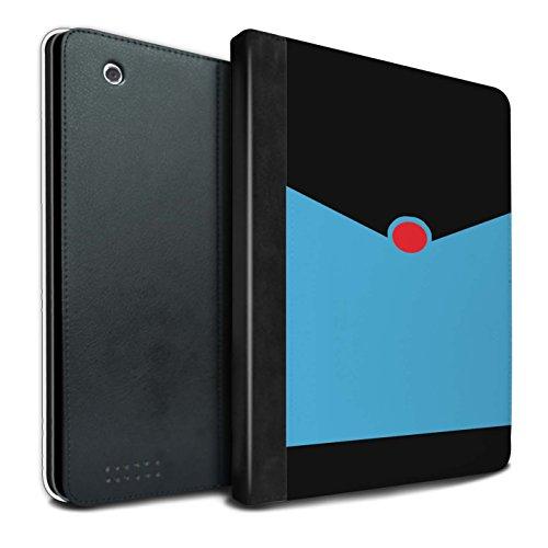 Stuff4® PU-Leder Hülle/Case/Brieftasche für Apple iPad 2/3/4 Tablet/Retro Blauer Anzug Muster/Cartoon Superheld Kunst Kollektion (Superhelden Haut Anzug)