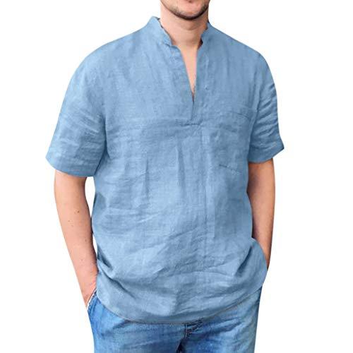 Eaylis Herren T-Shirt Tops Einfarbiges, KurzäRmliges Hemd Mit V-Ausschnitt Aus Baumwolle Und Leinen -