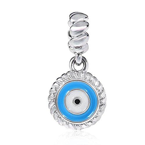 Evil eye charm in argento Sterling 925ciondolo angelo simbolo fascino Halloween Natale ciondolo charm per braccialetti Pandora A