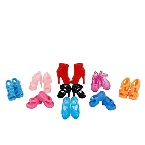 ZHONGLI Zufällige 10 Paar Barbie Puppe Schuhe Verschiedene Mode Bunte Mixed Style Sandalen High Heels Plattformen Für Mädchen Barbie Puppe Zubehör - Sandalen-plattformen Stiefel