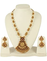 MUCH MORE Unique Gold Tone Temple Jewellery Laxmi Mata Necklace Set Indian Traditional Jewellery