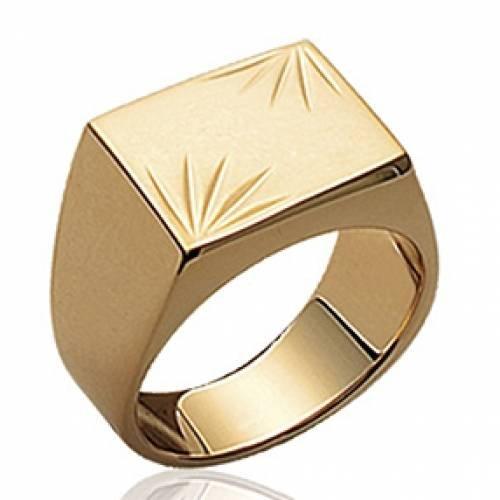 Sortija sello hombre Engravable Oro Genuino 18K plateó
