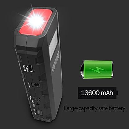 Jump Starter Batería Portátil de Emergencia para coche,GooBang Doo BOPOWER Arrancador de Emergencia para coche con la Antorcha del LED (500A, 13600mAh,Delgado, Portátil, Batería Externa Recargable, Pantalla LCD) para la Moto, Laptop, Smartphone,Tableta ect.