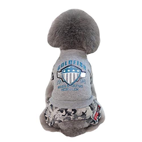 GLZKA Hundekostüm, vierbeinig, Baumwolle, Europa- und Amerika-Pilot-Muster, hält warm, grau, (Xxl Für Erwachsene Pilot Kostüm)