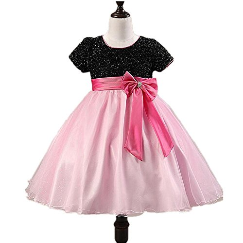 lumenmädchen Kleid Multi-Layer Chiffon Tüll Kurze Ärmel Hochzeit Festzug Brautjungfer Taufe Ballkleid Kleider Geburtstag Partei Kostüme Prinzessin Kinder Kleidung Pink 70Cm ()
