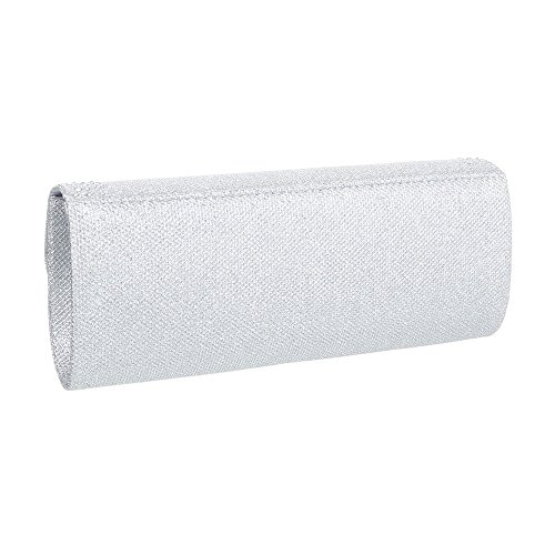 iTal-dEsiGn Damentasche Kleine Abendtasche Clutch Schultertasche Synthetik TA-HL005 Silber
