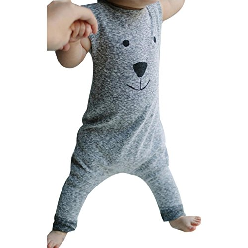 Sunnywill Baby Jungen Mädchen Bear Overall Body Playsuit Outfits Kleidung (12 monat, Grau) (Cardigan Outfit Baby-jungen)