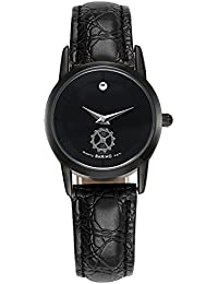 Naivo Women's Quartz Stainless Steel and Leather Color:Black (Model: WATCH-1108)