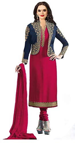 Nivah Fashion Women's Georgette Embroidery Dress Material with Jacket (Unstitched-G26-Magenta-Free Size)