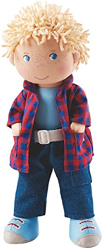Haba 302843 - Puppe Nick, Weich- und Stoffpuppe ab 18 Monaten, mit Kleidung und Haaren, 30 cm