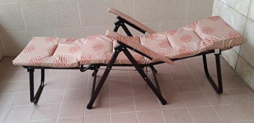 Metal Faire métal intérieur extérieur Chaise longue rembourrée avec rallonge et accoudoirs