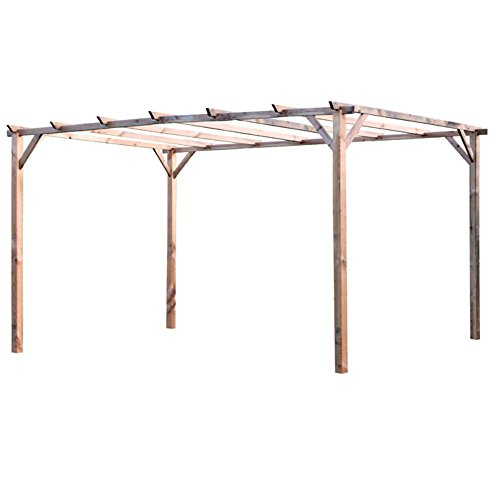 Verdelook pergolato in legno impregnato 3x4m gazebo protezione sole arredamento esterni