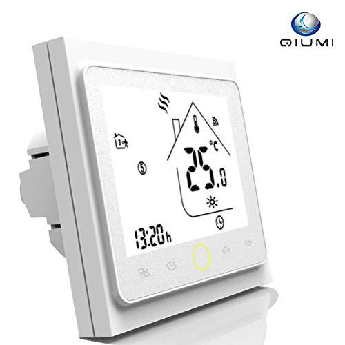 Qiumi Termostato Wifi para calefacción individual de calderas de gas/agua funciona con Amazon Alexa, Google Home IFTTT, Contacto seco, 5A