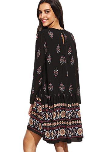 ASCHOEN Damen Retro Minikleid Sommerkleid Strandkleid Blumen Kleid Schwarz