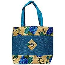 Women's Jute Handbag with flower Canvas Design -Rich Sky Blue Colour
