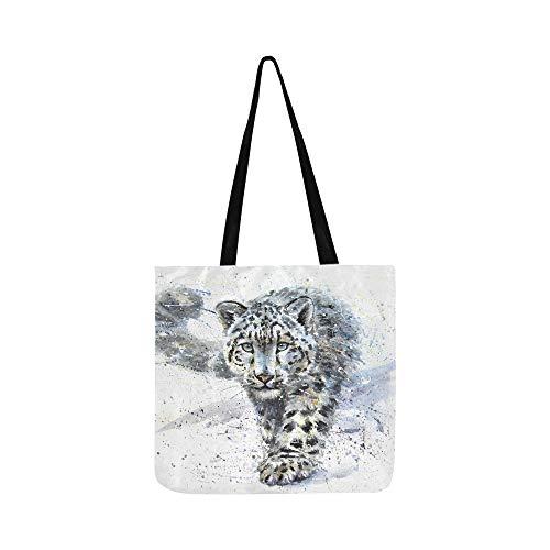 Léopard des neiges Animaux Predator Wildlife Canvas Tote Sac à main Sac à bandoulière Crossbody Sacs Sacs à main pour hommes et femmes Shopping Tote -
