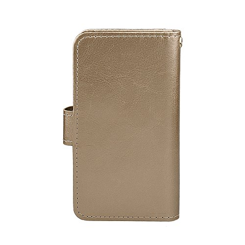 xhorizon TM FM8 Cuir Premium Folio étui [ la fonction de portefeuille] [magnétique détachable] Sac à main bracelet souple Carte Multiple couvrefente pour iPhone 5/iPhone SE d'or