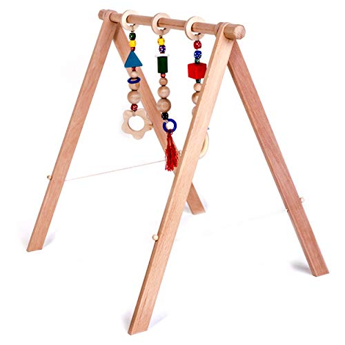 INGODI Wooden Mobile Baby Play Gym Toy Activity Set with 3 Gym Teether Toys, Handmade Natural Wood Play Gym for Babies (NO Paint)