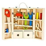 Tooky Toy - Juego de carpintero, caja de herramientas. Juguete educativo de madera a partir de 3 años