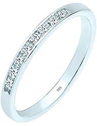 Anillo para mujer de compromiso de oro y diamantes 585 (0,08 quilates) brillantes y oro blanco