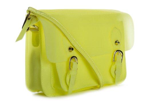 Big Handbag Shop mini Damen Ranzentasche Glitter opak gelb