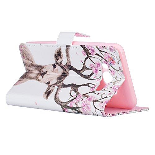 Qiaogle Telefon Case - PU Leder Wallet Schutzhülle Case für Apple iPhone 7 Plus (5.5 Zoll) - XIS14 / Plum Blume XIS25 / Antlers blühen
