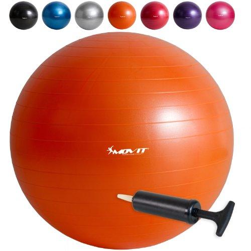 #MOVIT® Gymnastikball inklusive Pumpe, 65cm bzw. 75cm, 7 Farben, Maximalbelastbarkeit bis 300kg, berstsicher#