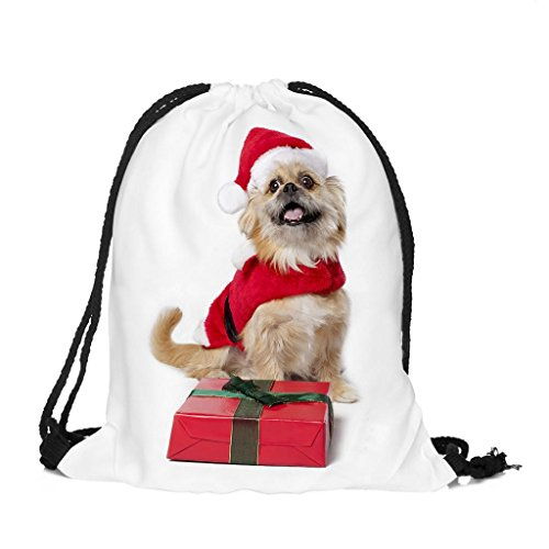 Longra Poliestere Materiale Superiore Unisex Natale Tema Stampa Bundle Pocket Drawstring Bag C