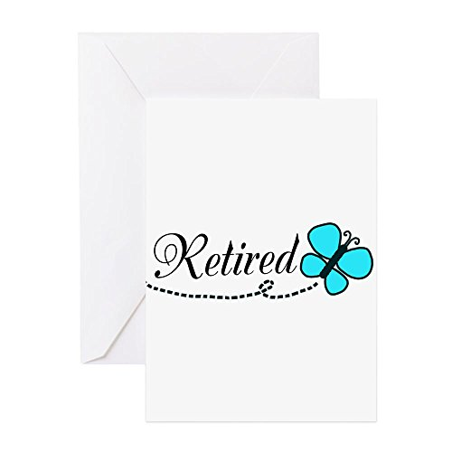 CafePress - Ruhestand Teal Black Butterfly Grußkarte - Grußkarte, Notizkarte, Geburtstagskarte, blanko Innenseite matt (Papier Teal Kontakt)