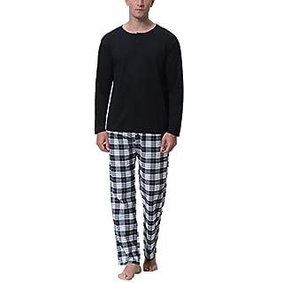 Aibrou Herren Baumwolle Pyjama Set, Winter Warm Langarm Zweiteiliger Schlafanzug, Langarm Shirt mit Kariert Hosen Schwarz M