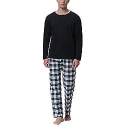 Aibrou Clásico Pijamas Hombre 2 Piezas Algodon Ropa de Dormir Hombre,Suave,Cómodo y Agradable