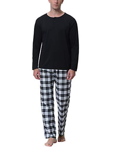 Aibrou Herren Baumwolle Pyjama Set, Winter Warm Langarm Zweiteiliger Schlafanzug, Langarm Shirt mit Kariert Hosen Schwarz XL