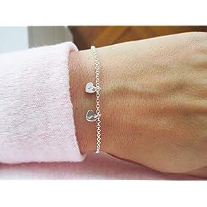 Armband mit Herzen 925er Sterlingsilber Personalisiert | Gold Roségold Herzchen Herz | Geschenk Weihnachten