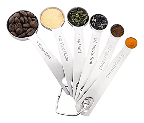 1Easylife 18/8 Stainless Steel Measuring Spoons Set of 6, Measure Dry and Liquid Ingredients, for Baking and Cooking