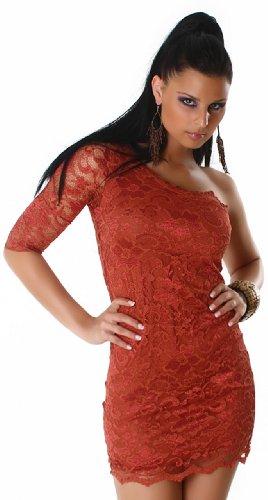 Jela london mini robe asymétrique en dentelle élégante Marron - rustikal