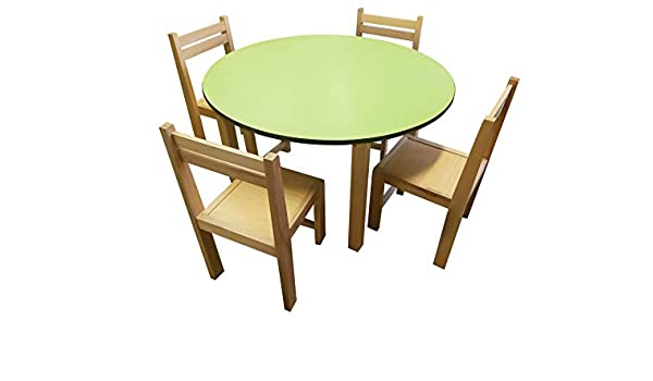 Green TOP Round Beech Wood Stacking Kids Chairs & Table