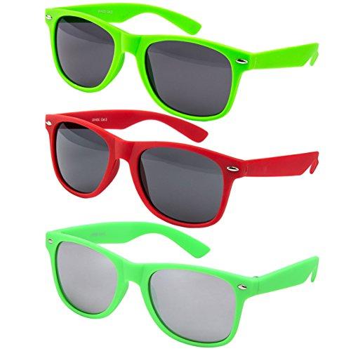 Ciffre 3 er Set EL-Sunprotect® Sonnenbrille Nerdbrille Brille Nerd Matt Gummiert Grün + Neongrün verspiegelt + Rot