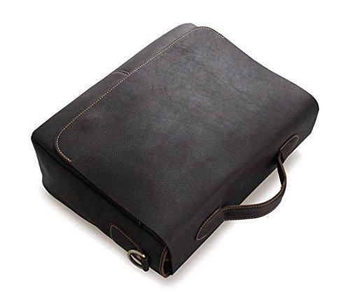 FRAZILL Herren Leder Aktentasche Herren Handtaschen Herren Umhängetasche Herren Laptop Tasche Hohe Qualität JM7108 (Braun) Dunkel Braun