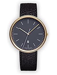 Uniform Wares M38 Quartz Watch with Grey Analogue Dial with Black Leather Strap