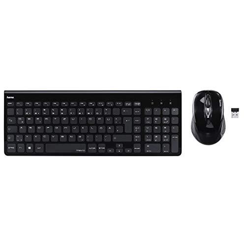 Hama Trento Kabelloses Computer-Funk-Tastatur-/Maus-Set (leise, flache Tasten, Ziffernblock, deutsches QWERTZ Tastaturlayout, optische Funk-Maus, 1200 dpi, 8 m Reichweite) schwarz